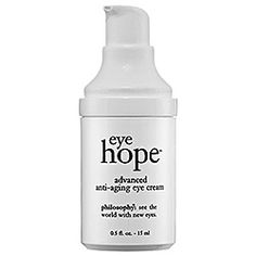 What it is:An antiaging eye treatment that reduces puffiness.What it is formulated to do:Philosophy Eye Hope™ Advanced Anti-Aging Eye Cream provides moisture and protection for the delicate eye area. It is designed to diminish dark circles, redu