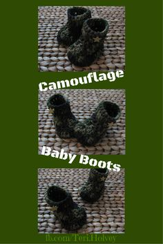 Support our troops with these handmade crochet camouflage baby boots.  Perfect gift for a child of a military member or military family! Army baby boots Navy baby boots Air Force Baby Boots Marines Baby Boots