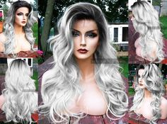 $89.95 -- Light silver gray / grey lace front wig with ombre black roots and platinum steel body. 20 Long, wavy, heat safe, and custom-styled by