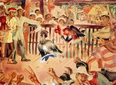 The Cockfight, Botong Francisco The undying tradition of raising fowls and placing bets. Pre colonial Philippines didn't have this tradition, I believe. Filipino Art, Filipino Culture, Philippine Art, Debut Ideas, Philippines Culture, Filipiniana, Historical Art, All About Time, Art Nature