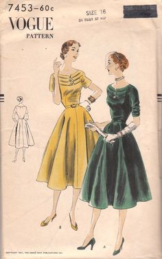 Unique Vintage Dress Pattern Vogue 7453 Size 16 by OneMoreCupOfTea, $23.00
