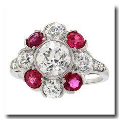 Inv. #16005  Art Deco 1.50 Carat Diamond and Ruby Ring Platinum c1920s. Lawrence Jeffrey Estate Jewelers