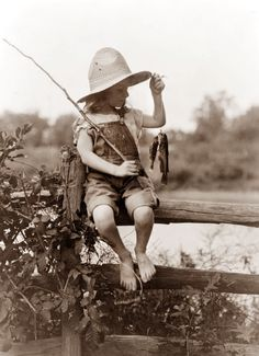 Fishing in the summertime - this is an old picture from the mid '50's  when Grandpa first took me fishing - said I did good '...for a girl!'