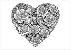 Heart of Roses Coloring Page - Buzzle.com Printable Templates