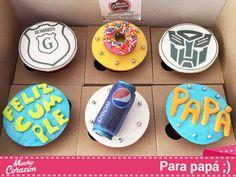 Cupcakes para el cumpleaños de papá, con todo y Transformes, Pepsi y Hombres G  #MuchoCorazón #ReposteríaCasera