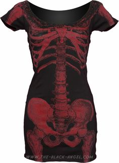 Kreepsville666 tunic dress with dark red skeleton print, from the 2012 line of goth clothing for women.