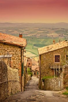 Montalcino a hilltown in Tuscany, Italy settled probably since Etruscan times.  Famous for its Brunello Montalcino wine. 42 km from Sienna.