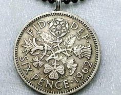Coin Jewelry - English Irish Scottish Welsh COIN NECKLACE - vintage six pence - Tudor rose - Irish clover - Scottish thistle - Welsh leek by FindsAndFarthings on Etsy Coin Jewelry, Coin Necklace, Unique Jewelry, Jewlery, Tribal Tattoos, Tattoos Skull, Tudor Rose, Welsh, Irish Tattoos