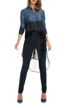 Salsa Store - Camisa de ganga comprida com encaixe de tecido