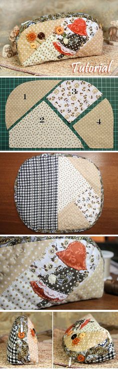 "Bag Japanese Patchwork How to sew a cosmetics bag in the style of Japanese patchwork ""Sunbonnet Sue"". DIY Photo Tutorial and Pattern.How to sew a cosmetics bag in the style of Japanese patchwork ""Sunbonnet Sue"". DIY Photo Tutorial and Pattern. Patchwork Patterns, Bag Patterns To Sew, Patchwork Bags, Quilted Bag, Sewing Patterns Free, Free Sewing, Sewing Tutorials, Sewing Crafts, Sewing Projects"