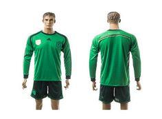 2015-2016 Germany Blank Germany Goalkeeper Green Long Sleeve Jersey
