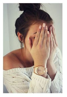 Off the shoulder sweater, top knot bun, neutral nails - That sweater would be cute with a tank top underneath!