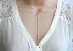 Gold lariat Y necklace. Gold filled dainty by KattrinDesign