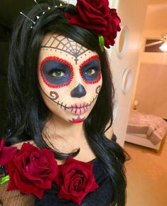 Day of the Dead Makeup Tattoo Kit Halloween Sugar Skull Fancy Dress Ladies Face Sugar Skull Halloween, Sugar Skull Costume, Cool Halloween Makeup, Sugar Skull Makeup, Halloween Fancy Dress, Cute Halloween, Halloween Costumes, Sugar Skulls, Vintage Halloween