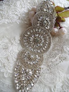 crystal applique swarovski rhinestone Applique  bridal by LaceFun, $45.99
