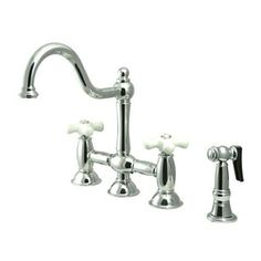Elements of Design Restoration Chrome 2-Handle High-Arc Sink/Counter Mount Kitchen Faucet with Side Spray