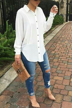 Womens Fashion Autumn Fall Looks Jeans 53 Ideas For 2019 Casual Work Outfits, Mode Outfits, Work Casual, Classy Outfits, Stylish Outfits, Fashion Outfits, Jeans Casual, Womens Fashion, Fashion Top