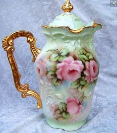 """Gorgeous Limoges France Hand Painted """"Peach Roses"""" Chocolate Pot by the Artist… Antique China, Vintage China, Vintage Coffee, Vintage Tea, Tea Cup Saucer, Tea Cups, Tea Pot Set, Teapots And Cups, China Painting"""