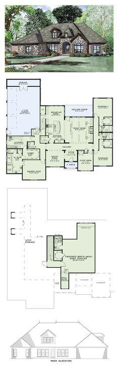 European House Plan 82163 | Total Living Area: 3415 sq. ft., 4 bedrooms and 4.5 bathrooms. #houseplan #europeanhome