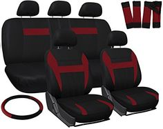 OxGord 17pc Set Flat Cloth Mesh / Red & Black Auto Seat Covers Set - Airbag Compatible - Front Low Back Buckets - 50/50 or 60/40 Rear Split Bench - 5 Head Rests - Universal Fit for Car, Truck, Suv, or Van - FREE Steering Wheel Cover