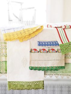 Ready-made edgings and borders will transform simple towels into chic, vintage-style accessories. #crafts #diy #kitchen