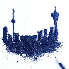 Johannesburg Pencil Shaving Art by Meghan Maconochie on Instagram