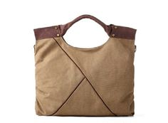 Tote bag/ Cow Leather canvas bag / leather Briefcase by Commandery, $59.90