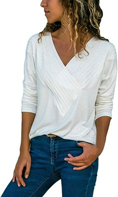 ab56a4ecf7aa BLENCOT Women s Wrap Front Blouses Long Sleeve V Neck Solid Basic Tee Shirt  White Casual Loose Blouse Tops XL at Amazon Women s Clothing store
