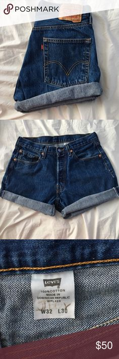 Levi's cut off jean shorts  Perfect condition cut off jean shorts! Very cute and stylish. Rolled up. Size 32 men's waist. These fit a women's size 27-29 waist! ✨ so cute. NO TRADES OR LOWBALLS PLEASE!! Levi's Shorts Jean Shorts