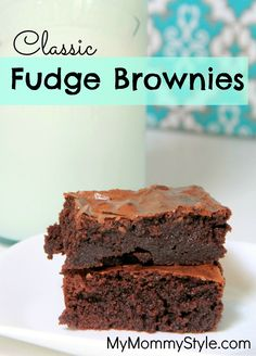 Classic Fudge Brownies - these are THE brownies to make!! Just made them tonight...not cakey at all, just moist, dense, and fudgey just like a brownie should be! I added more choc chips to the batter for the husband, of course! Seriously, go make them NOW!