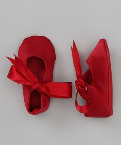 Take a look at this Red Satin Shoe by Truffles Ruffles on #zulily today!