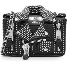 Moschino Mini Leather Shoulder Bag (9.185 RON) ❤ liked on Polyvore featuring bags, handbags, shoulder bags, purses, black, leather shoulder bag, leather handbags, chain shoulder bag, handbags shoulder bags and leather hand bags