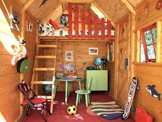 No frills here and only a few basics needed in a boy's clubhouse where vintage accessories fit perfectly.