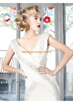 Sexy moderne Brautkleider günstig aus Satin V-Ausschnitt mit Perlen