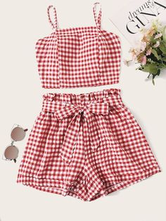 To find out about the Gingham Shirred Tie Back Cami Top & Belted Shorts at SHEIN, part of our latest Two-piece Outfits ready to shop online today! Teen Fashion Outfits, Outfits For Teens, Trendy Outfits, Girl Fashion, Girl Outfits, Fashion Sets, Belted Shorts, Crop Top And Shorts, 2 Piece Outfits
