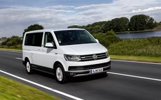 Download wallpapers Volkswagen Multivan, 2017, minibus, white new Multivan, German cars, Volkswagen