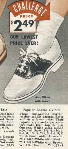 1955 white sole, black sole trim, elk leather saddles shoes. Also in white/brown