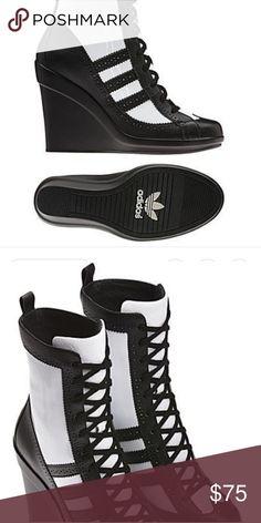 2012 Adidas Originals Jeremy Scott wedge heels Granny boot style wedge heels. Authentic Jeremy Scott collection 2012. adidas Shoes Heeled Boots