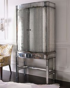 """""""Viola"""" Mirrored Bar Cabinet by John-Richard Collection at Horchow."""