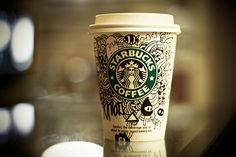 someone's waiting there at the starbucks. he got bored and start making drawings on the paper cup. and this sad story ends here. Coffee Doodle, Coffee Art, Hot Coffee, Coffee Cups, Ailee, Copo Starbucks, Starbucks Cup, White Chocolate Mocha, What Is The Secret