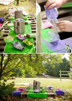 pixie fairy dust sand art activity for a peter pan birthday / table