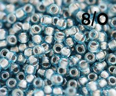 Blue seed beads, TOHO beads, size 8/0, Inside-Color Aqua Tin Lined N 285, blue beads, rocailles - 10g - S674 by MayaHoney on Etsy