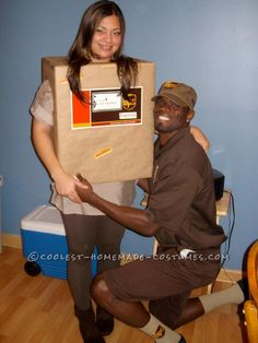 Simple and Creative Couples Costume: UPS Guy and His Package... Homemade Costume Contest