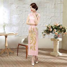 a72942fb4 Online Shop Elegant Pink Chinese Style Bride Wedding Party Dress Vintage  Embroidery Satin Cheongsam Sexy Long Slim Qipao Size S-XXL C0042-B