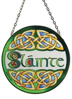 This Stained Glass window hanging depicts a favourite Irish toast 'Slainte' meaning 'good health' in the Irish language. It is the common Irish toast and can often be heard in pubs, when glasses are clinked together in friendship.