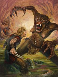Grendel is described as much bigger than Beowulf and monsterous so in their battle he towers over Beowulf