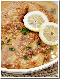Chicken francese. An Italian-American dish of sauteed chicken cutlets with a lemon-butter sauce