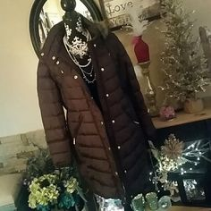 NWT Michael Kors Calf Length WalkingCoat NWT Michael Kors Winter Walking Coat....Brown with gold zippers and snaps...fur trimmed hood that is detachable and a high collar nice for protecting your neck..... Michael Kors Jackets & Coats Puffers