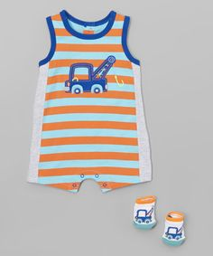 Vitamins Baby Turquoise Stripe Truck Romper Set - Infant   zulily