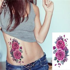 flash henna tattoo fake temporary waterproof sleeve women tattoos stickers Cherry blossoms rose flowers arm shoulder tattoo